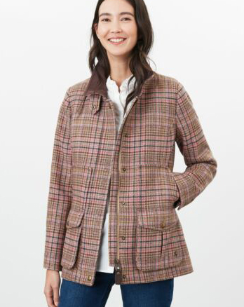 Joules Field Coat Pink Tweed
